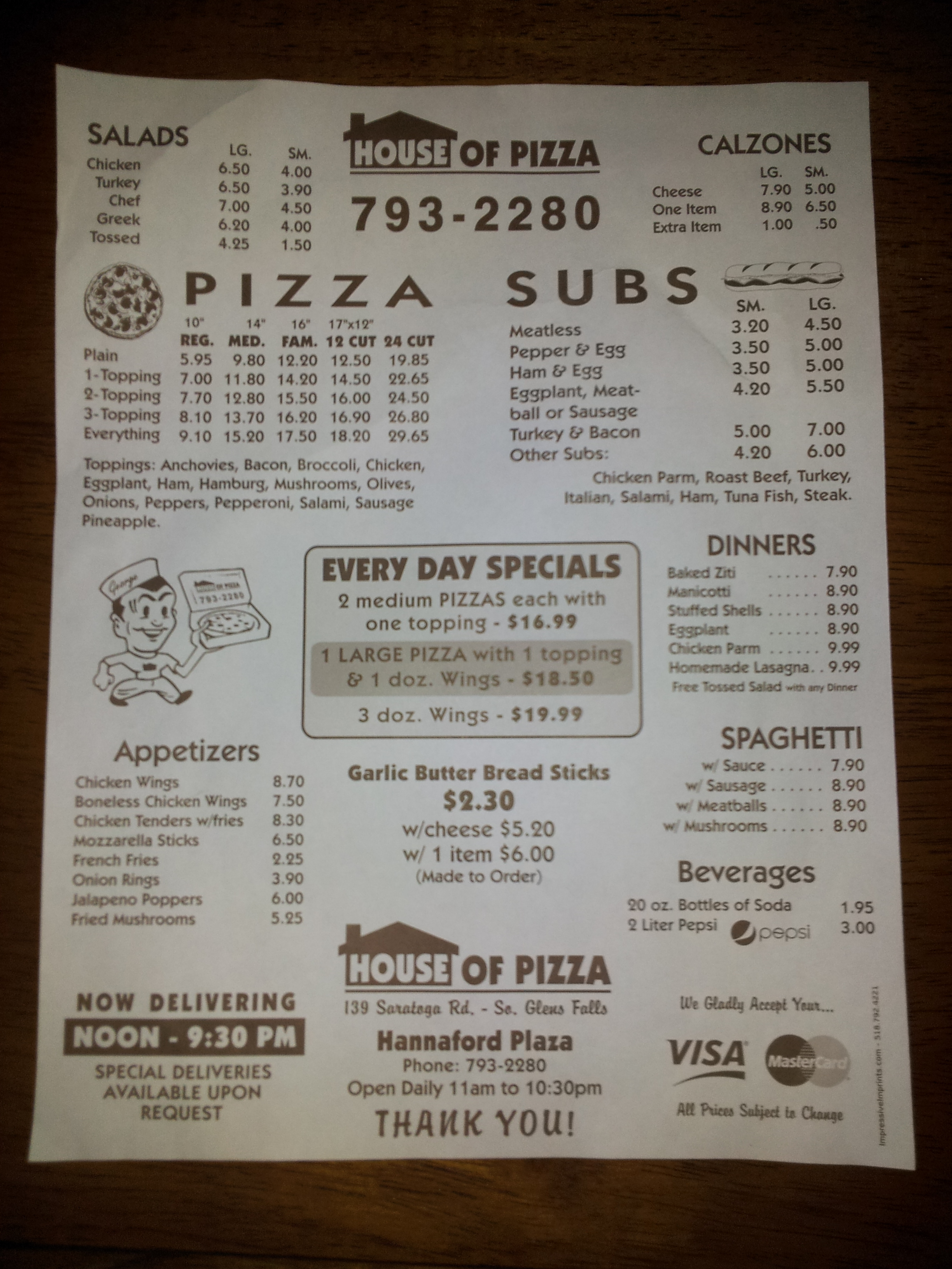 House of Pizza, South Glens Falls NY