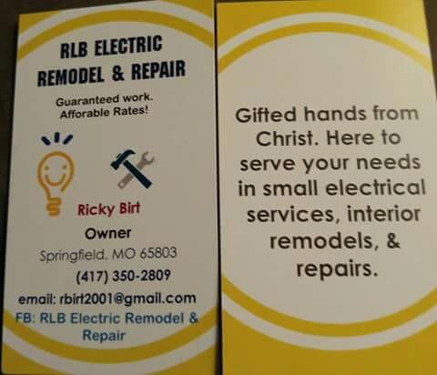 ELECTRICIAN  RLB ELECTRIC REMODEL & REPAIR, Springfield MO