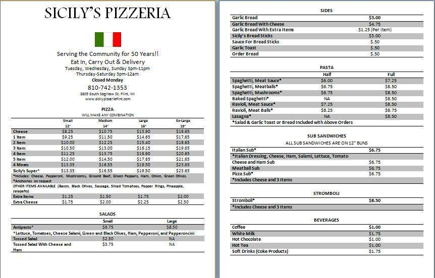 Sicily Pizza, Flint MI