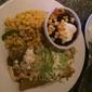 Cinco Mexican Cantina - Atlanta, GA. Chicken enchiladas, corn and black beans.
