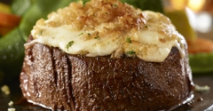 LongHorn Steakhouse. Try LongHorn's Parmesan Crusted Filet— center-cut filet topped with creamy Parmesan, provolone and garlic cheese crust.