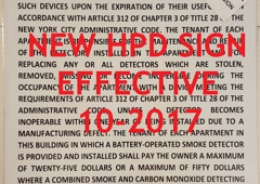 HPD SIGNS - Brooklyn, NY. nyc hpd smoke detector sign