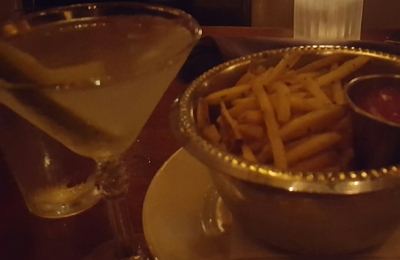 Cliff Bell's - Detroit, MI. Dirty Martini and Garlic olive oil fries