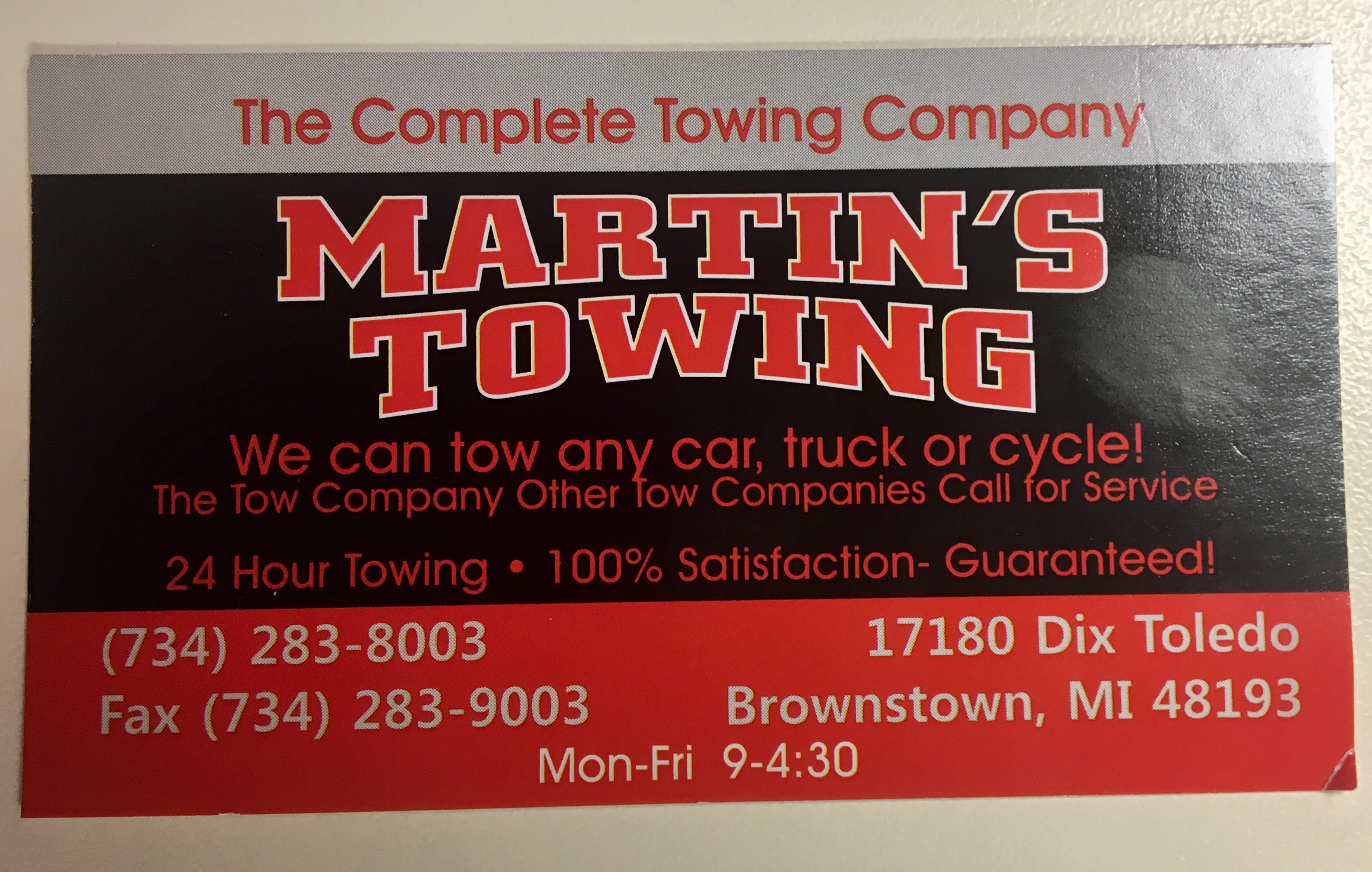 Martin\'s Towing & Used Auto Parts Brownstown Twp, MI 48183 - YP.com