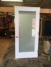 Entry door unit with frosted glass, custom wood, project in Brooklyn, NY.