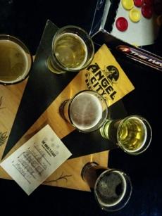Beer flight at Angel City Brewery in Los Angeles, CA