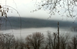 Fog in the valley of the river