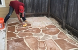 Completed flagstone patio extension.