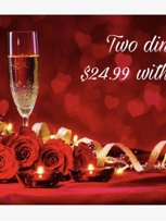 $24.99 for 2 Dinners w/ Wine or Dessert!