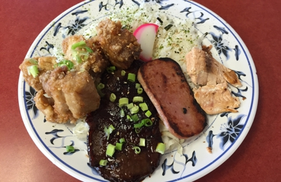Forty Niner Restaurant - Aiea, HI. 49er bento: garlic chicken, teriyaki beef, spam, salmon, and fish cake.