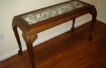 Oak carved claw hall table/berveled glass top