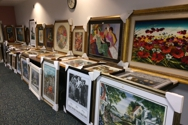 Preview setup  art auction fundraiser.  Let Marlin Art do all the work for you- we bring the art, programs, and auctioneer!