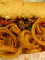 Roast-beef Po-boy with onion rings