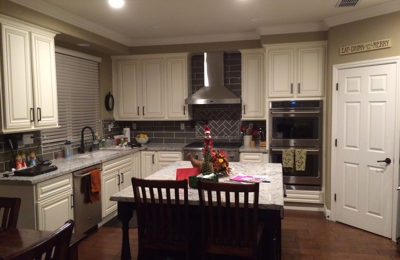 Trico Painting, Inc.   Roseville, CA. Light Cabinets And Dark Island.