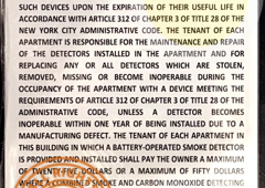 HPD SIGNS - Brooklyn, NY. SMOKE DETECTOR HPD REQUIRED SIGN