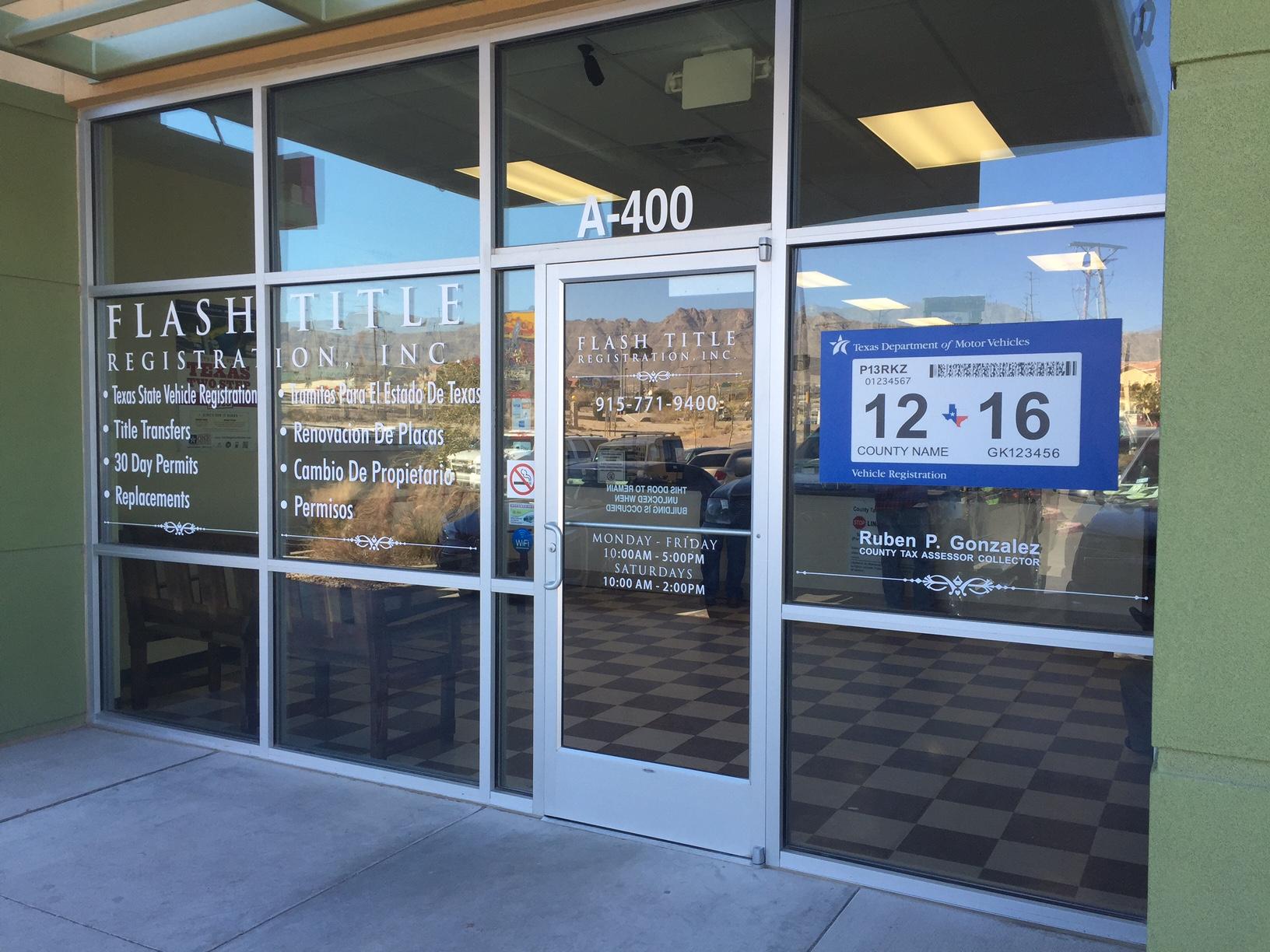 Flash Title Registration Inc 1050 Sunland Park Dr El