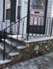 New England field stone stairs with granite treads and landing. New custom railings. Hollandstone walkway with cobble border Boston, MA