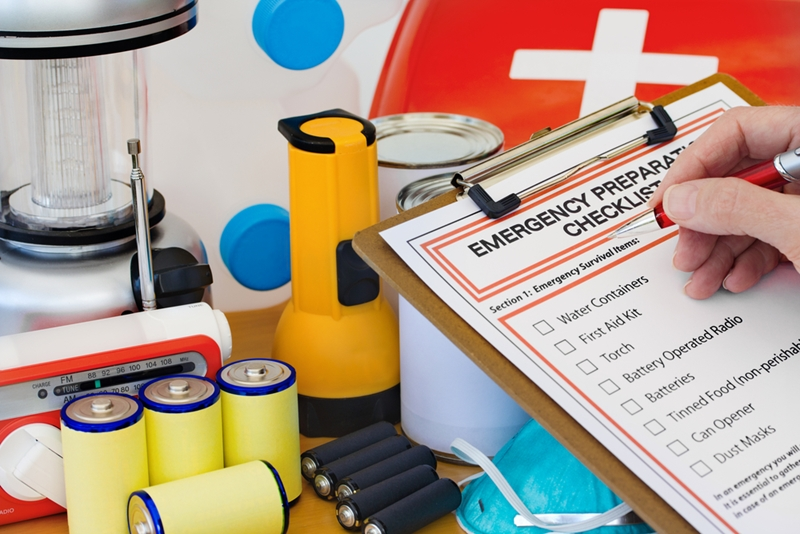 Keep an emergency supply kit on hand in case of a power outage.