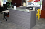 Reception Desk with a glass top, it adds a sleek modern look to any reception area!