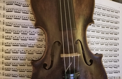 Tulsa String-Violin Shop - Tulsa, OK. My personal violin with a rich history, told to me by the owner, the reason why I chose it despite the worn varnish. Incredible sound!
