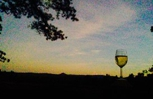 A glass of wine with the nice view of Pinnacle Mountain
