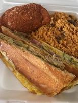 Cuban, empanada and rice