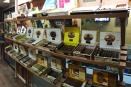 The humidor. New products arrive several time a week. Requests are welcome.