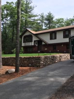 Dry stone wall, paver walkway,Brick stairs with blue mist granite treads and landingSharon, MA