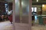Mahogany wood interior custom door with pattern obscured glass, restoration project in Brooklyn, NY.
