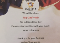 Boston Pizzeria - Greenville, SC. BP will be closed Mon through Wed. Ty
