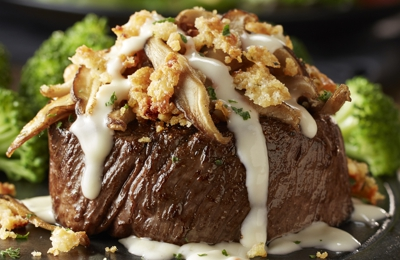 LongHorn Steakhouse. Try our Shiitake Mushroom Crusted Filet topped with roasted shiitake mushrooms and finished with a garlic cream sauce.