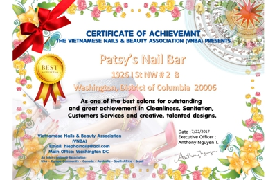 Patsy's Nail Bar - Washington, DC. Congratulations !
