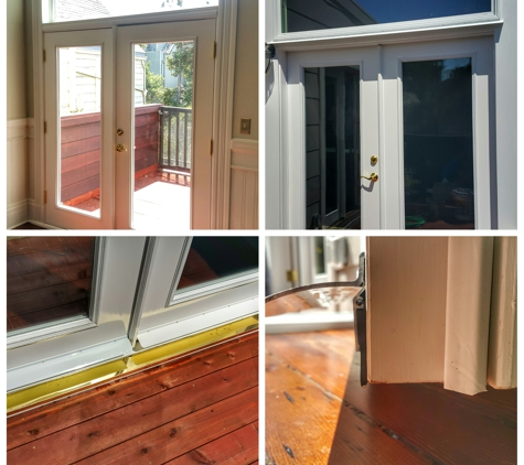 Tony's Windows & Glass - San Francisco, CA. Transom and French Doors installation with custom weather stripping
