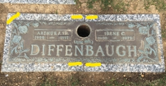 Oak Lawn Cemetery & Chapel Mausoleums - Baltimore, MD. Crack in upper center of marker in granite stone.