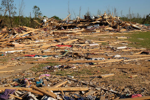 The mess and debris from a tornado.