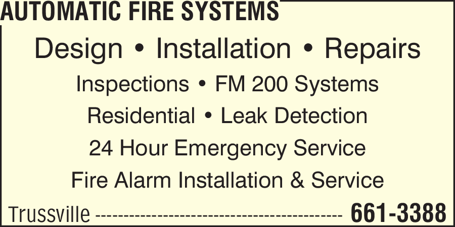 Automatic Fire Systems 901 Alton Pkwy Birmingham Al 35210 Yp Com