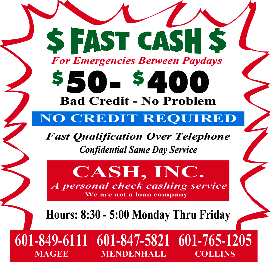 Cash Inc 121 1st St NW, Magee, MS 39111 - YP com