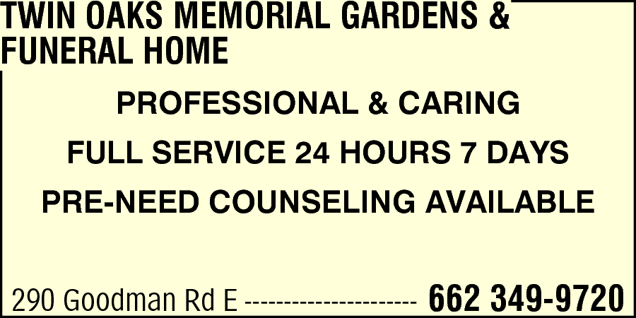 Twin Oaks Memorial Gardens & Funeral Home Southaven, Ms 38671 - Yp.Com